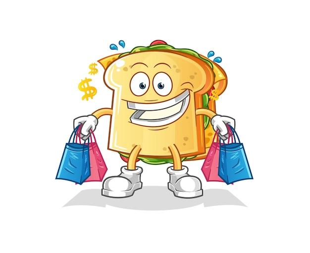 O mascote do desenho animado da sanduicheria
