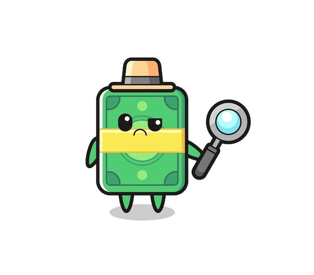 O mascote do dinheiro fofo como um detetive, design de estilo fofo para camiseta, adesivo, elemento de logotipo