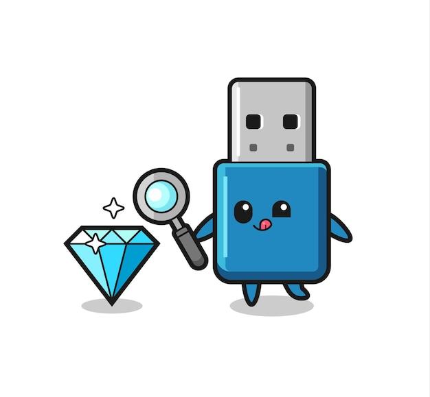 O mascote do flash drive usb está verificando a autenticidade de um diamante, design de estilo fofo para camiseta, adesivo, elemento de logotipo