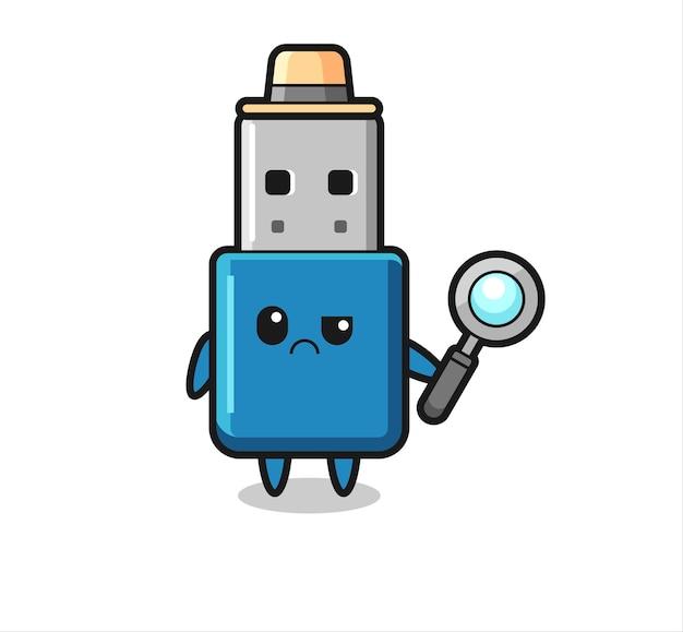 O mascote do fofo flash drive usb como um detetive, design de estilo fofo para camisetas, adesivo, elemento de logotipo