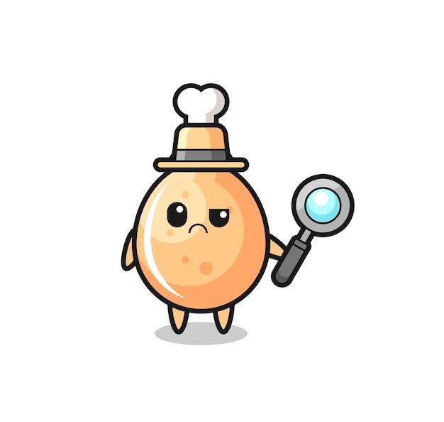 O mascote do frango frito fofo como um detetive, design de estilo fofo para camiseta, adesivo, elemento de logotipo
