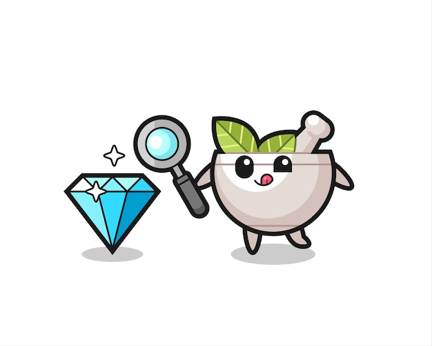 O mascote do herbal bowl está verificando a autenticidade de um diamante, design de estilo fofo para camiseta, adesivo, elemento de logotipo