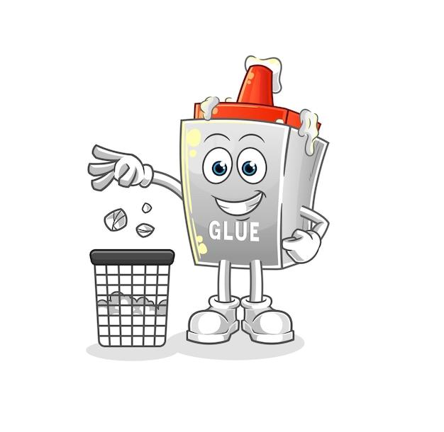 O mascote do lixo de lançamento de cola. desenho animado