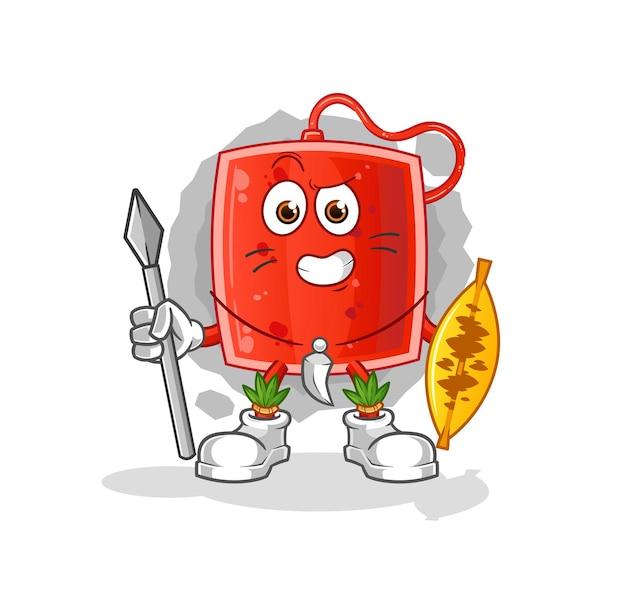 O mascote do lutador tribal africano do saco de sangue. desenho animado