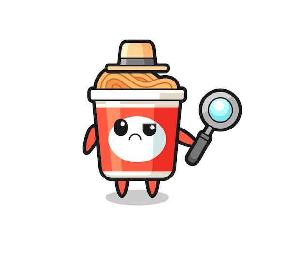 O mascote do macarrão instantâneo fofo como um detetive, design de estilo fofo para camiseta, adesivo, elemento de logotipo