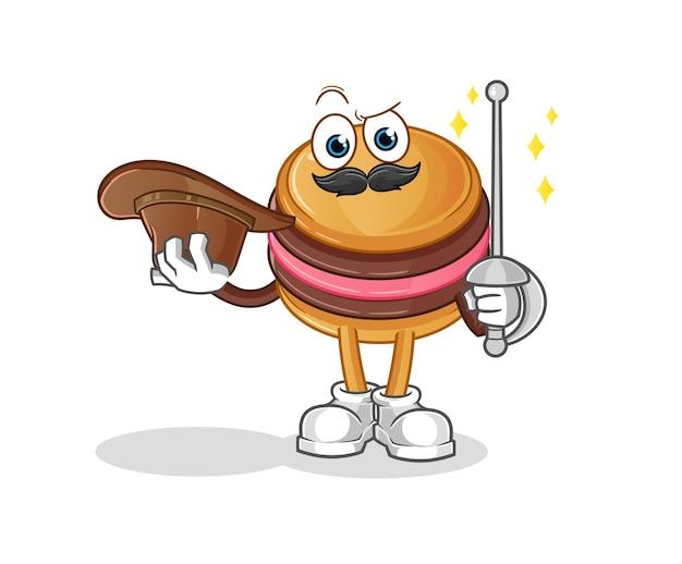 O mascote do mascote dos desenhos animados do esgrimista macaroon. mascote mascote dos desenhos animados