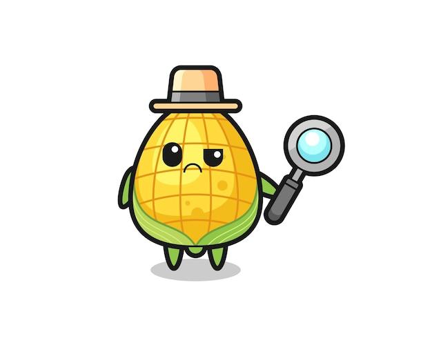 O mascote do milho fofo como um detetive, design de estilo fofo para camiseta, adesivo, elemento de logotipo