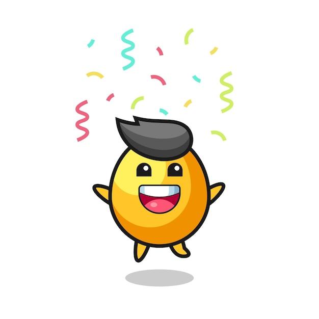 O mascote do ovo de ouro feliz pulando de parabéns com confete colorido, design de estilo fofo para camiseta, adesivo, elemento de logotipo