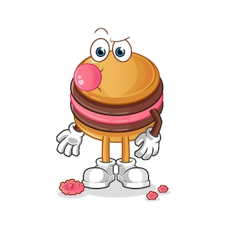 O mascote do personagem de goma de mascar macaroon