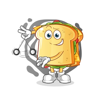 O mascote do personagem hipnotizante do sanduíche