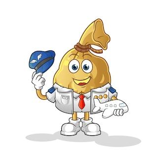 O mascote do personagem piloto do saco de dinheiro