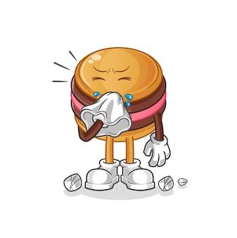 O mascote do personagem que assoa o nariz de macaroon