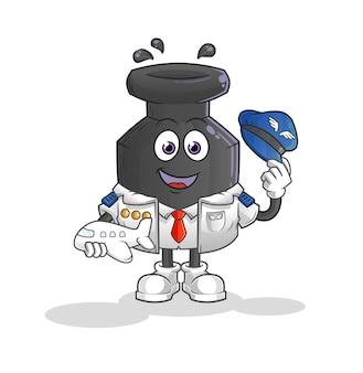 O mascote do piloto de tinta. desenho animado