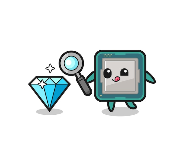 O mascote do processador está verificando a autenticidade de um diamante, design de estilo fofo para camiseta, adesivo, elemento de logotipo