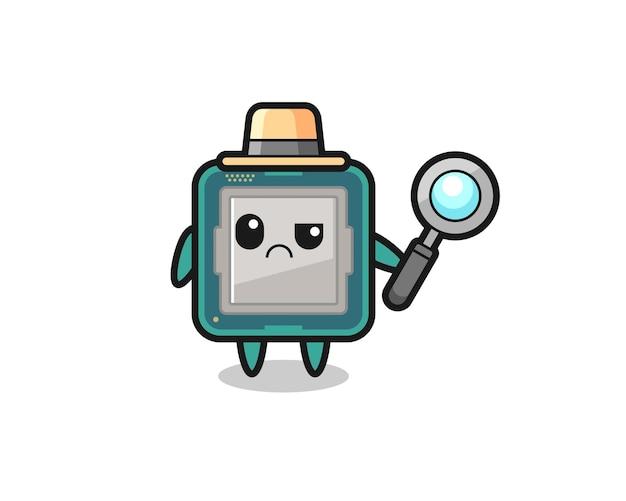 O mascote do processador fofo como um detetive, design de estilo fofo para camiseta, adesivo, elemento de logotipo
