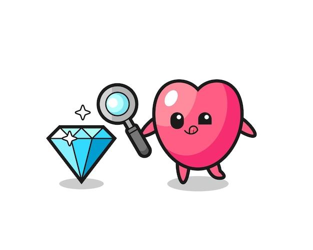 O mascote do símbolo do coração está verificando a autenticidade de um diamante, design de estilo fofo para camiseta, adesivo, elemento de logotipo