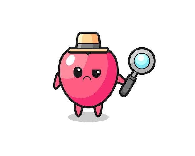 O mascote do símbolo do coração fofo como um detetive, design de estilo fofo para camiseta, adesivo, elemento de logotipo