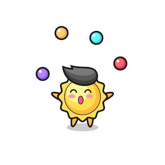 O mascote do sol está verificando a autenticidade de um diamante, o desenho do circo do sol fazendo malabarismo com uma bola, design de estilo fofo para camiseta, adesivo, elemento de logotipo