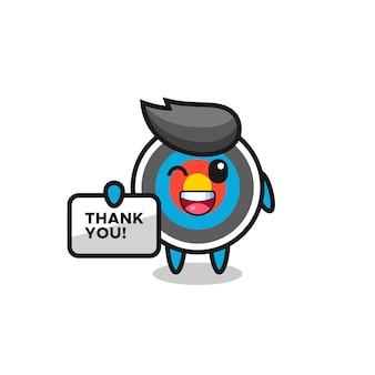 O mascote do tiro com arco segurando uma faixa que diz obrigado, design de estilo fofo para camiseta, adesivo, elemento de logotipo