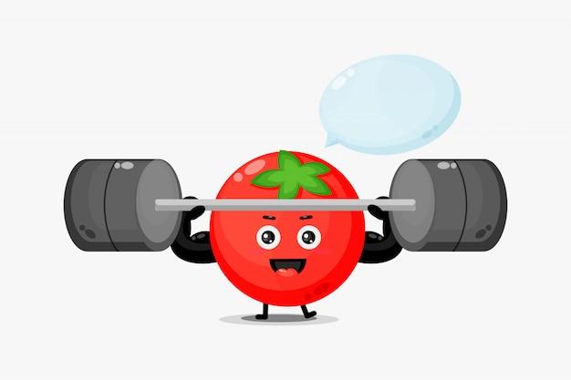 O mascote do tomate fofo levantando uma barra