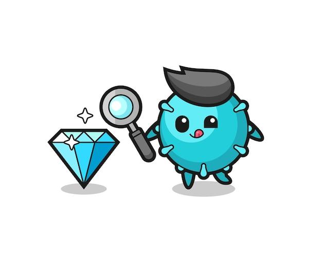 O mascote do vírus está verificando a autenticidade de um diamante, design de estilo fofo para camiseta, adesivo, elemento de logotipo