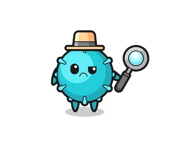 O mascote do vírus fofo como um detetive, design de estilo fofo para camiseta, adesivo, elemento de logotipo