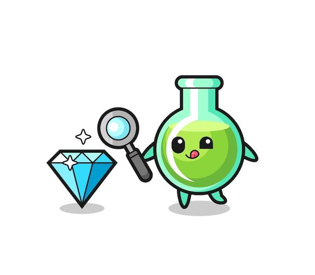 O mascote dos béqueres de laboratório está verificando a autenticidade de um diamante, design de estilo fofo para camiseta, adesivo, elemento de logotipo