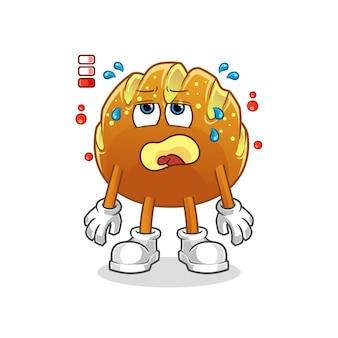 O mascote dos desenhos animados com bateria fraca de pão