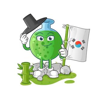 O mascote dos desenhos animados coreanos de vidro químico. mascote mascote dos desenhos animados