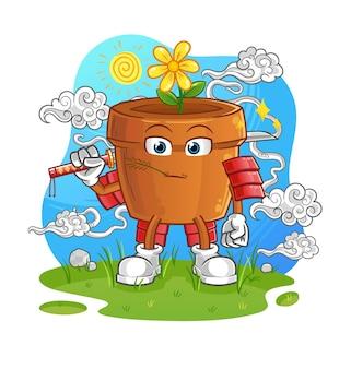 O mascote dos desenhos animados de samurai do vaso de flores. mascote mascote dos desenhos animados