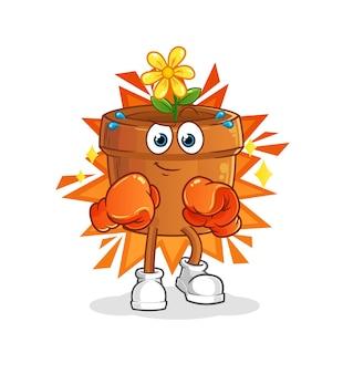 O mascote dos desenhos animados do boxer do vaso de flores. mascote mascote dos desenhos animados