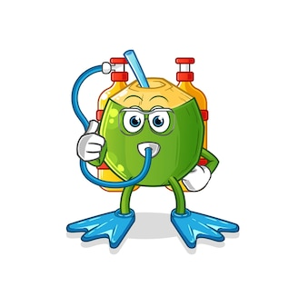 O mascote dos mergulhadores de bebida de coco. desenho animado