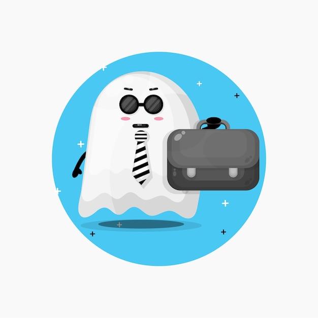 O mascote fantasma fofo do halloween saindo para o trabalho