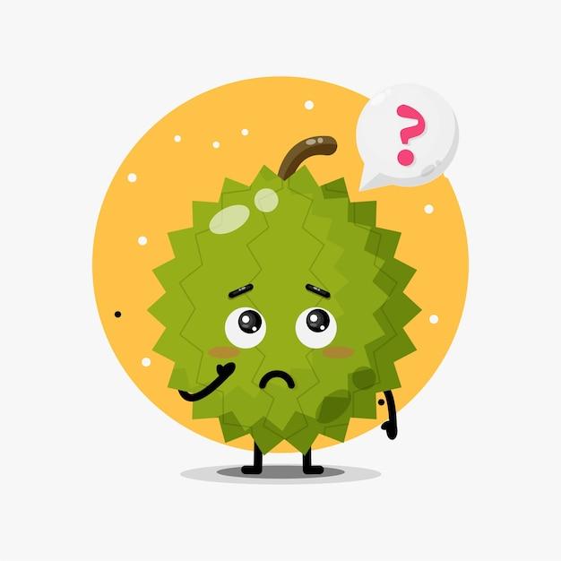 O mascote fofinho durian está confuso. com balões de fala