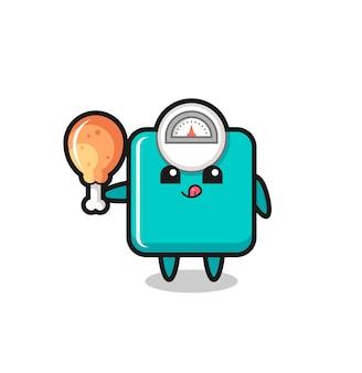O mascote fofo da balança de peso está comendo um frango frito, design de estilo fofo para camiseta, adesivo, elemento de logotipo