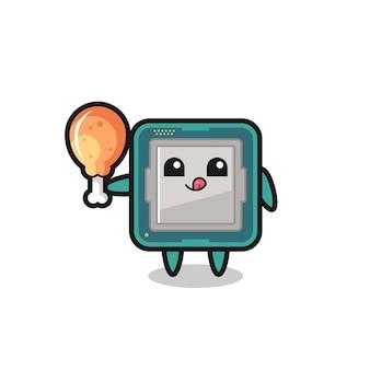 O mascote fofo do processador está comendo um frango frito, design de estilo fofo para camiseta, adesivo, elemento de logotipo