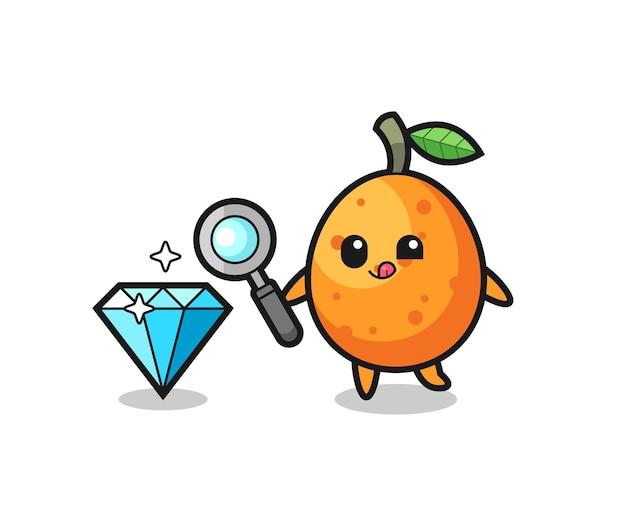 O mascote kumquat está verificando a autenticidade de um diamante, design de estilo fofo para camiseta, adesivo, elemento de logotipo