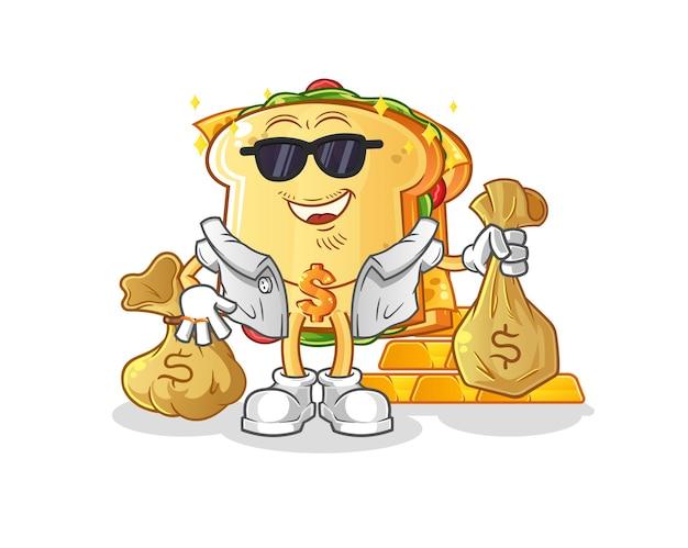 O mascote rico em sanduíches