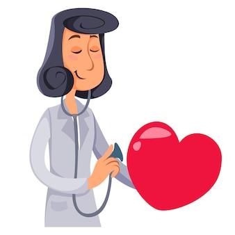 O médico escuta com um coração de estetoscópio cardiologista feminina ilustração vetorial no desenho animado