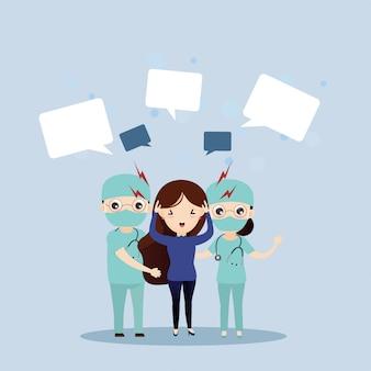 O médico está cuidando de pacientes com fortes dores de cabeça.