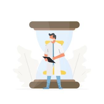 O médico está em frente a uma grande ampulheta ilustração em vetor conceito profissionais de ambulância