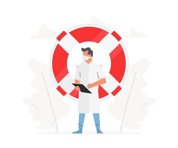 O médico está em frente a uma grande bóia salva-vidas. profissional médico segura uma prancheta na mão
