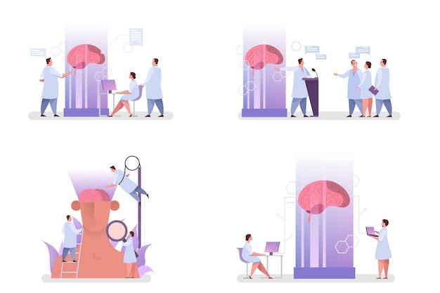 O médico examina o cérebro enorme. ideia de tratamento médico