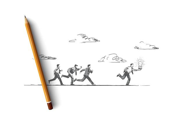 O melhor conceito de ideia. mão desenhada pessoas correndo com lâmpada luminosa. o empresário faz uma ilustração isolada de ótima solução.
