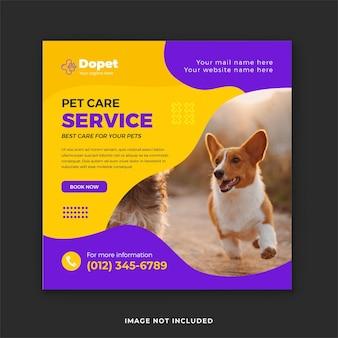 O melhor cuidado com o seu animal de estimação na mídia social e no modelo de postagem no instagram sobre saúde animal