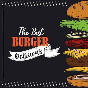 O melhor hambúrguer com camadas deliciosas de ingredientes fast food em fundo preto