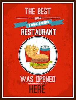 O melhor restaurante novo fast food foi aberto aqui, poster pronto para imprimir
