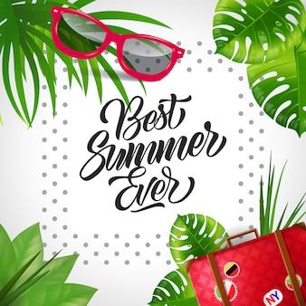 O melhor verão de todos os tempos. fundo de férias tropicais com pontos em torno do texto.