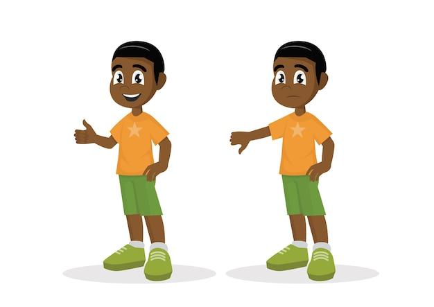 O menino africano manuseia acima dos polegares para baixo.