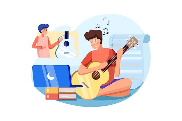 O menino aprende a tocar instrumento musical de acordo com um tutorial online.